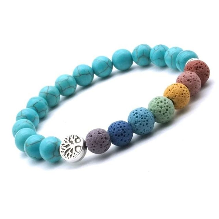 Tree of life Seven Chakra and Turquoise Beads Lava Stone Bracelet