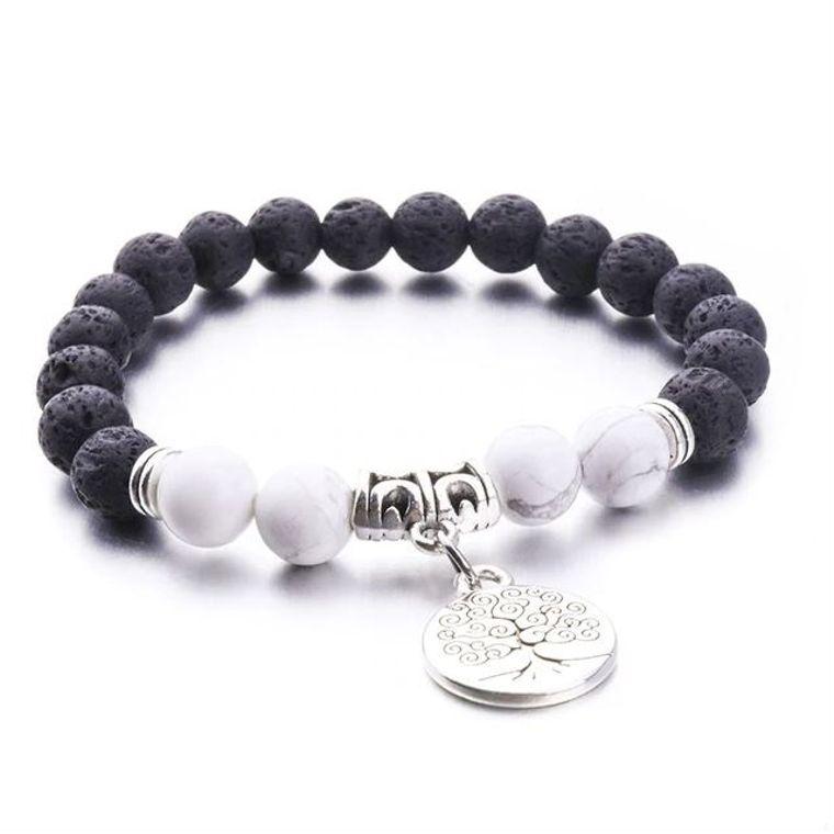White and Black Tree of Life Lava Stone Bracelet