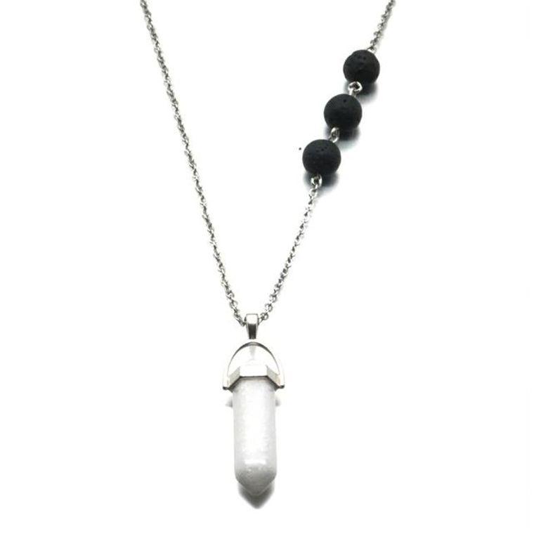 Scolcite White Crystal Lava Stone Necklace