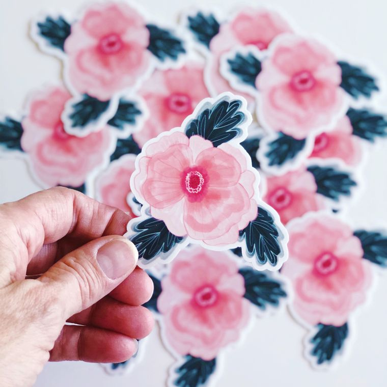 Pink and Navy Floral Vinyl Sticker