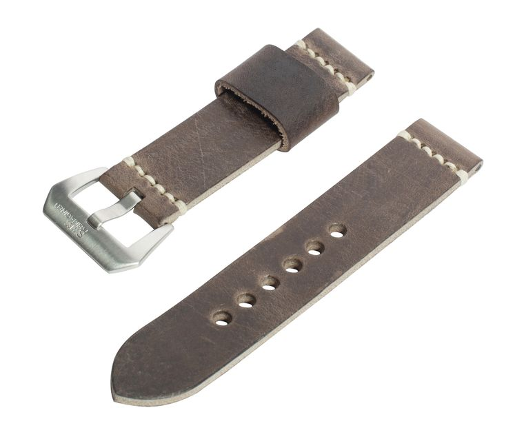 SWISS REIMAGINED Full Grain Italian Leather Watch Band with Satin Finished Stainless Steel Buckle
