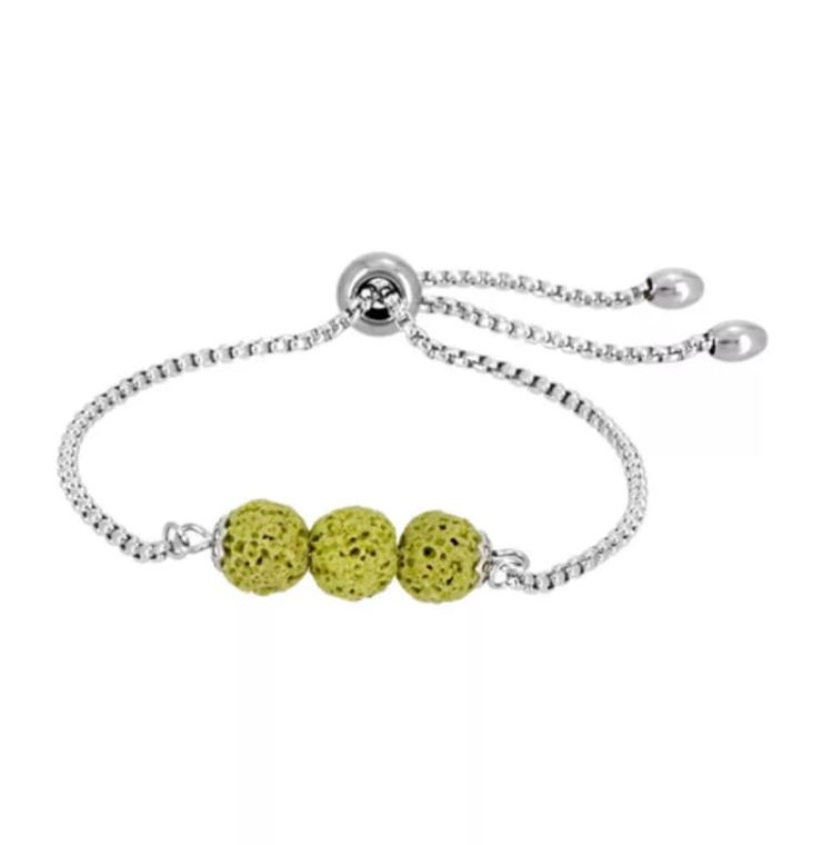 Yellow Triple Lava Stone Charm Bracelet