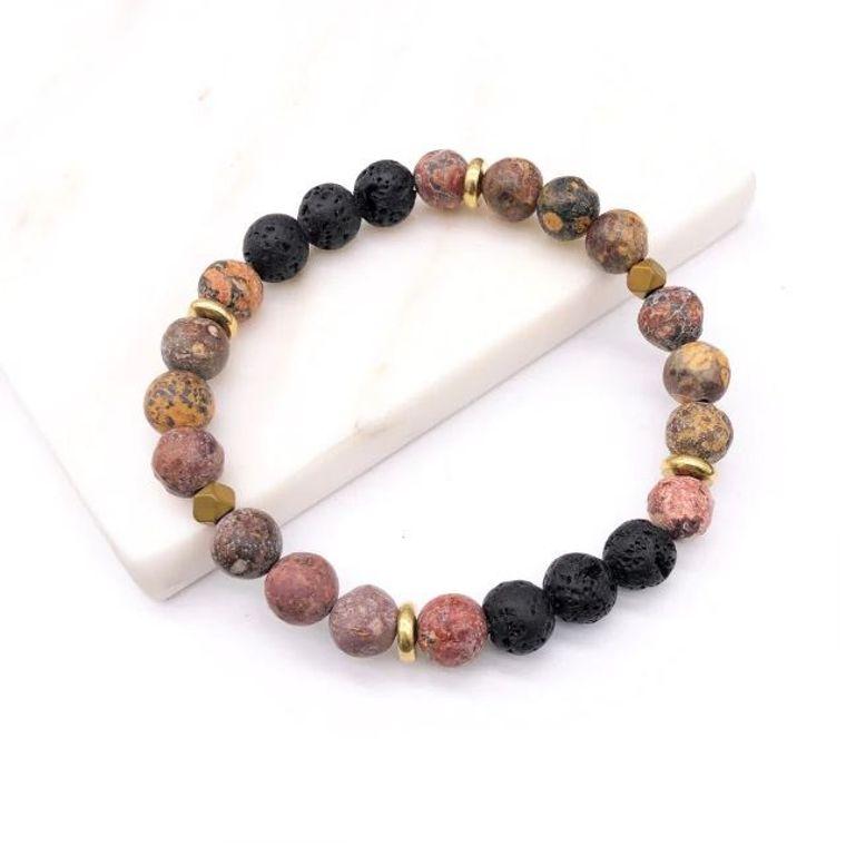 Granite Pattern Lava Stone Bracelet