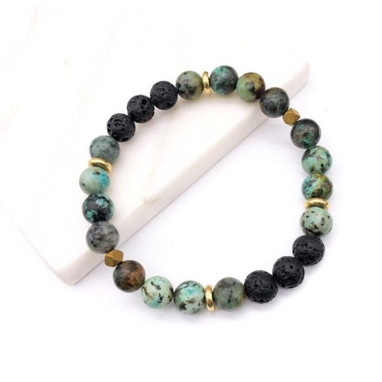 Green Blue Lava Stone Bracelet