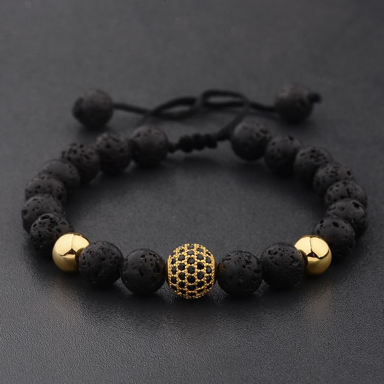 Crystal Ball Gold Lava Stone Bracelet