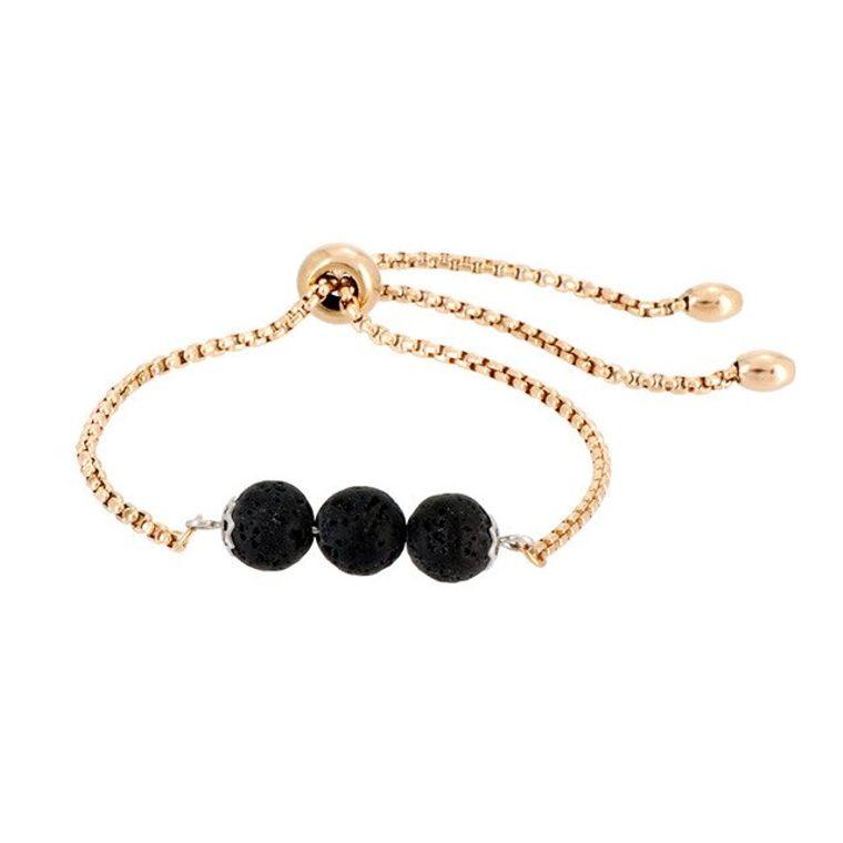 Black Triple Lava Stone Gold Charm Bracelet