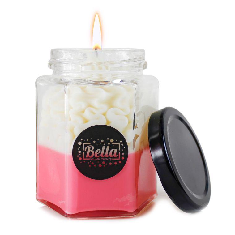 Pink Dolce: Cinnamon Scented dessert jar candle