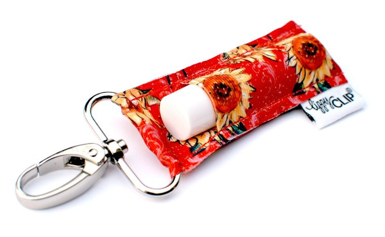 Red Sunflowers LippyClip Lip Balm Holder