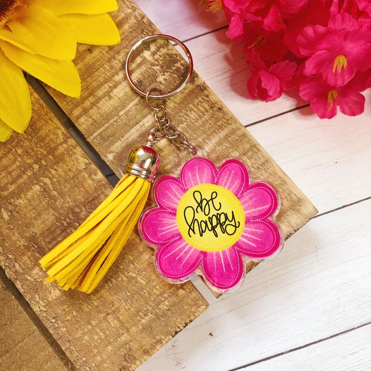 Be Happy Floral Acrylic Keychain