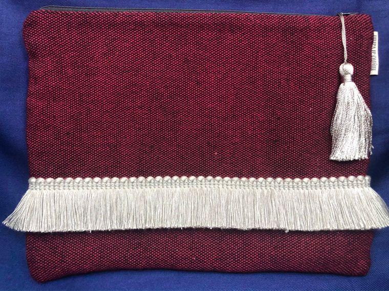 Fringed Cotton/Wool Tassel Clutch Purse - Handmade in Greece