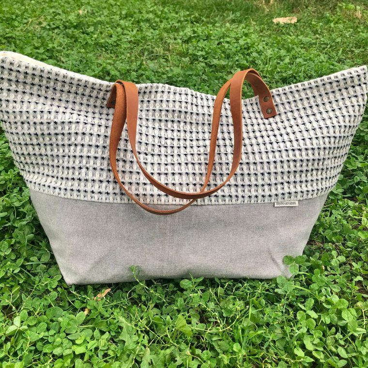 Cotton Shoulder Bag - Handmade in Greece