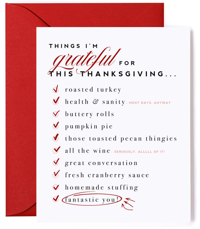Things I'm Grateful For  - Thanksgiving Card