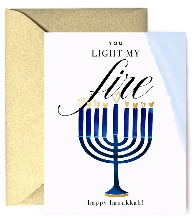 You Light My Fire, Menorah  - Happy Hanukkah Holiday Card