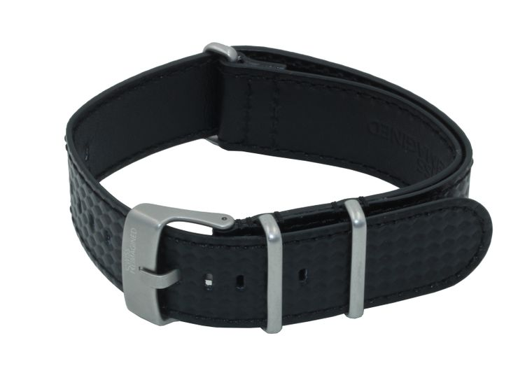 SWISS REIMAGINED Carbon Fibre Embossed Italian Calfskin Leather NATO Watch Strap with Sand Blasted Stainless Steel Buckle