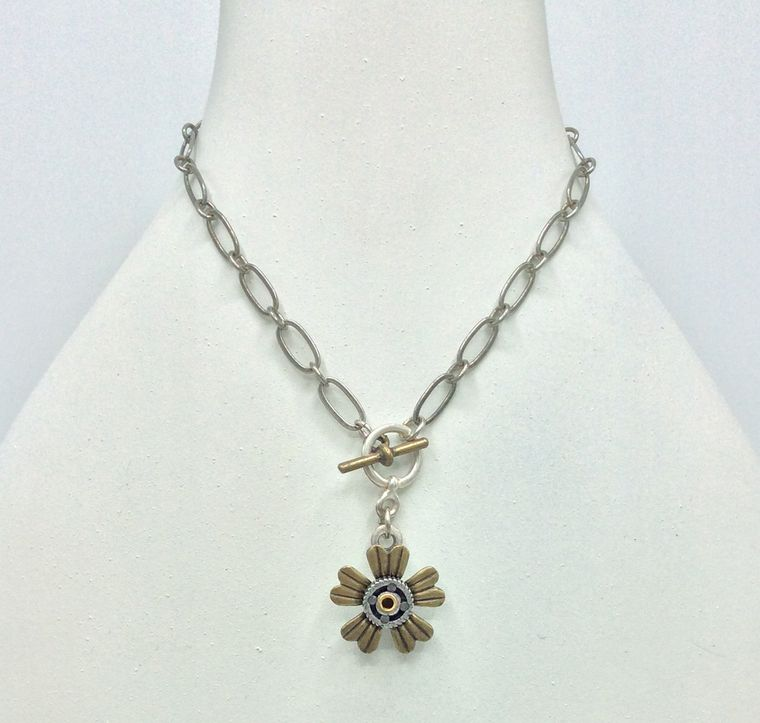 Botanical Gear Toggle Necklace - 4560