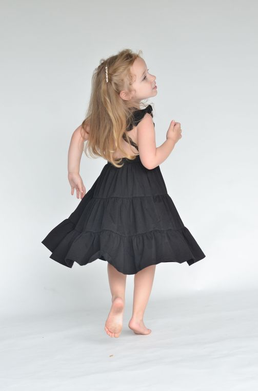 Edith Dress in Midnight 3/4