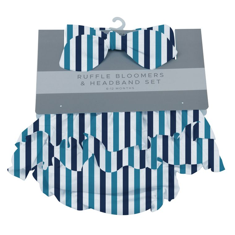 Blue and White Stripe Ruffle Bloomers and Headband Set 6-12 M