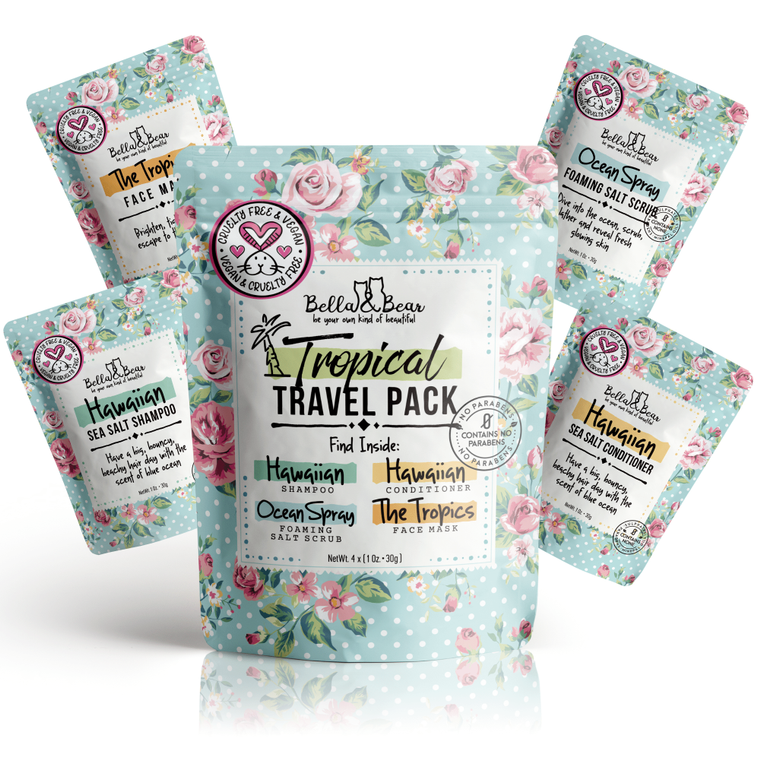 Travel Pack Shampoo, Conditioner, Body Scrub & Face Mask