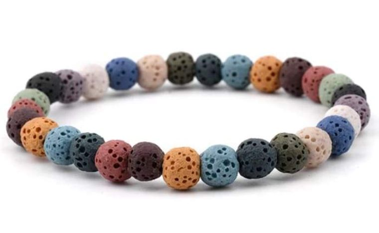 Lava Stone Essential Oil Bracelet - Rainbow Lava Stone