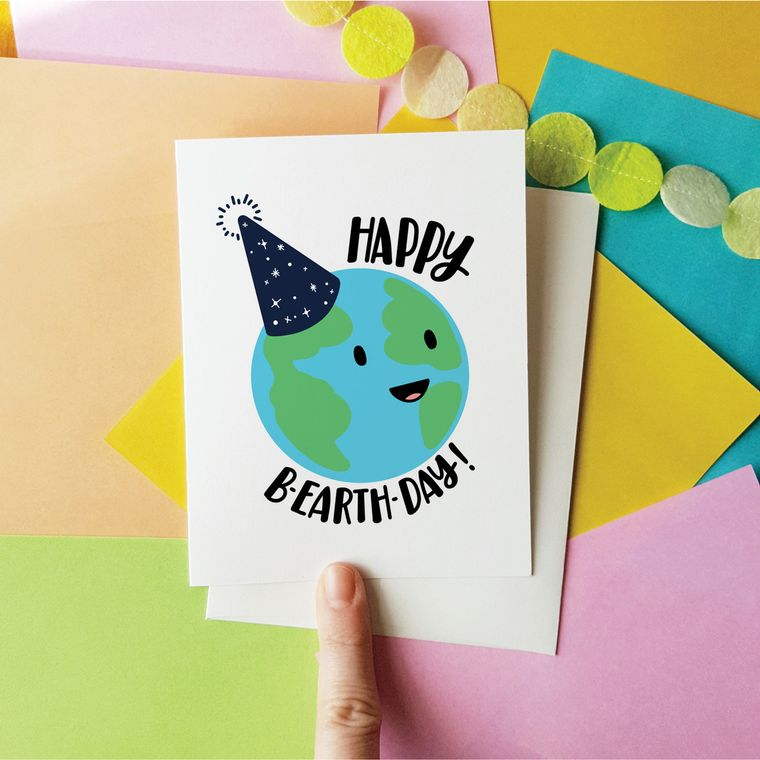 Bearthday Happy B-Earth-Day greeting card! Planets Solar System Science Birthday