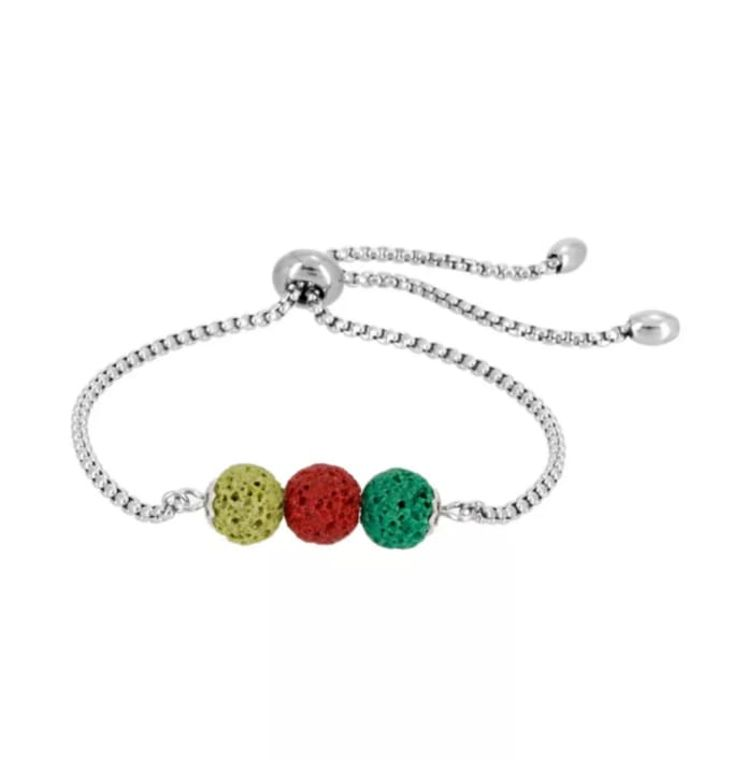 Red Green Yellow Triple Lava Stone Charm Bracelet