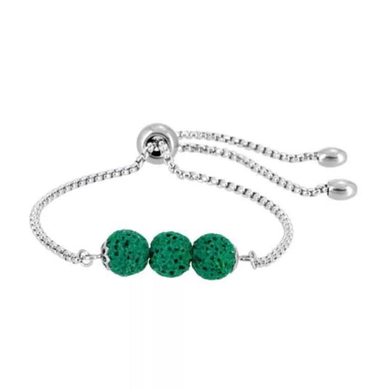 Green Triple Lava Stone Charm Bracelet