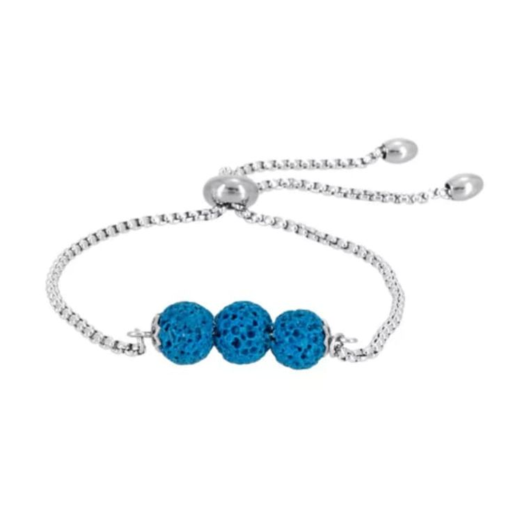 Light Blue Triple Lava Stone Charm Bracelet