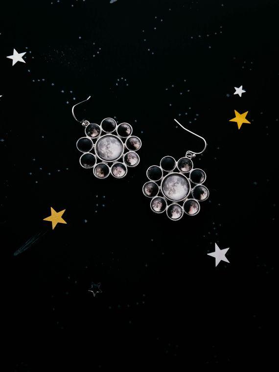 Moon Phase Halo Earrings