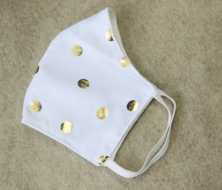 Junonia Gold Face Mask, Adults and Teens Size Gold polka dots & white soft fresh Reusable Washable