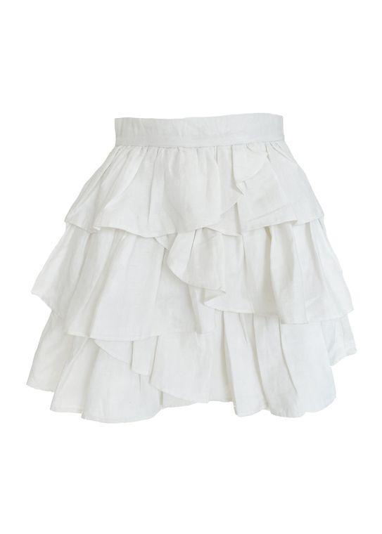 Catherine Mini Ruffle Linen Skirt