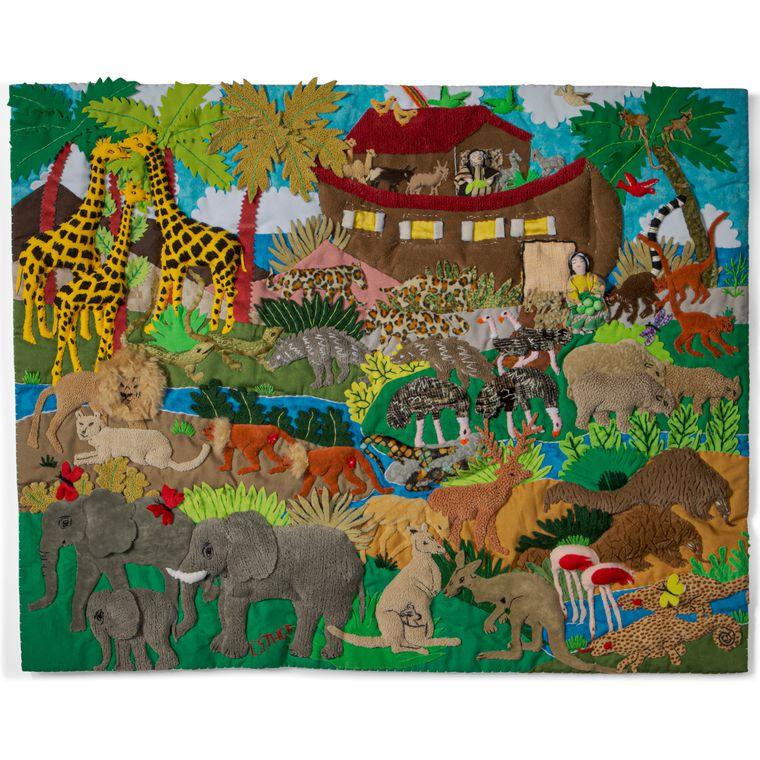Noah's Ark - Medium 3-D Arpillera Art Quilt