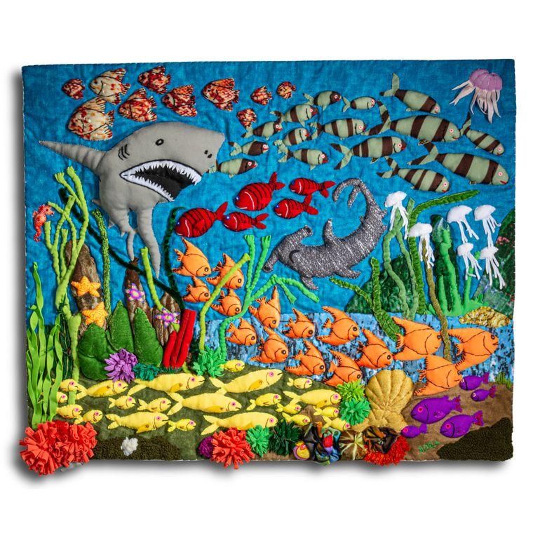 "Under Sea - Medium 3-D Arpillera Art Quilt - 21"" X 17"""