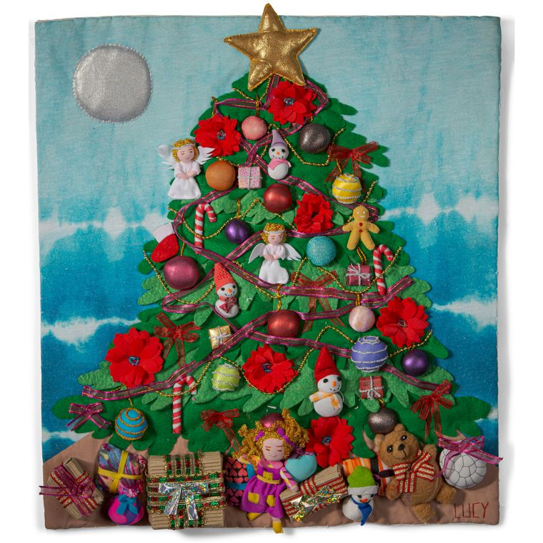 """Christmas Tree 3-D Arpillera Art Quilt 20"""" x 17"""""""
