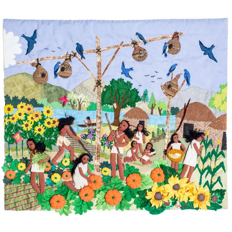 """Native American Birdhouse - 3-D Arpillera Art Quilt 20"""" x 17"""""""