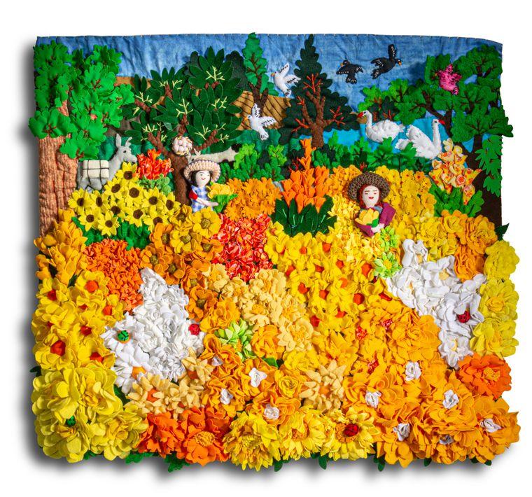 """Yellow Flower Field - Medium 3D Arpillera Art Quilt - 21"""" X 17"""""""