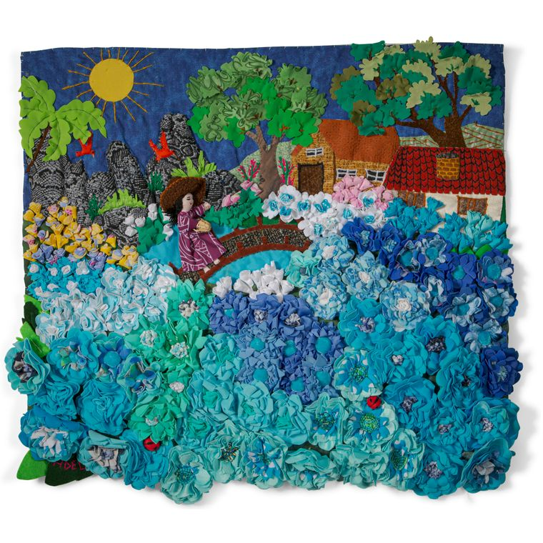 """Blue Flower Field - Medium 3D Arpillera Art Quilt - 21"""" X 17"""""""