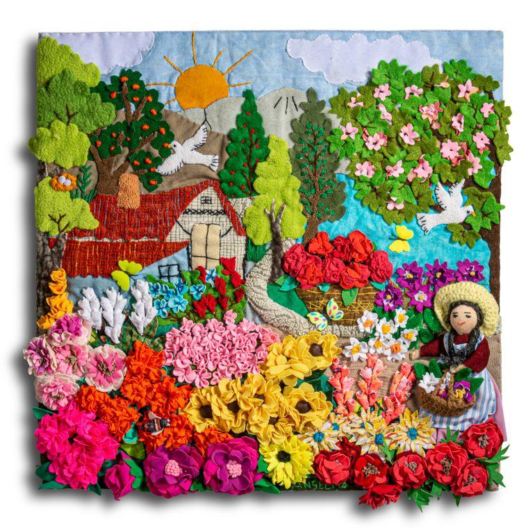 "Flower Garden Arpillera Small - Square 13""x13"""