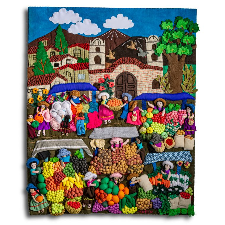 """Farmers Market - Medium 3-D Arpillera Art Quilt- 21"""" X 17""""New velcro backing and picture wire for hanging."""