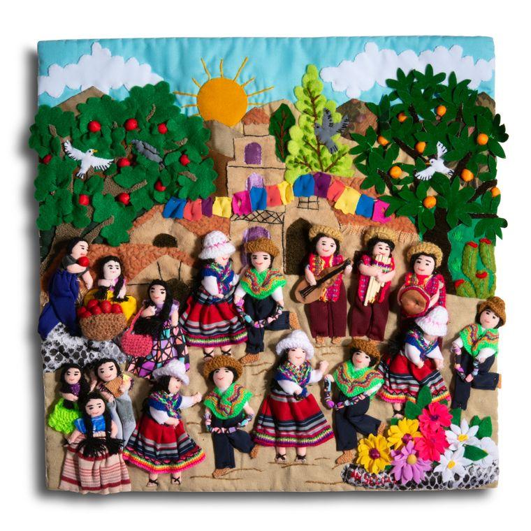 "Fiesta Small Arpillera - 13"" x 13"""
