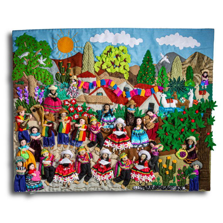 """Fiesta and Celebration - Medium 3-D Arpillera Art Quilt - 21"""" X 17"""""""