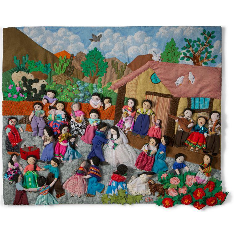 """Wedding - Medium 3-D Arpillera Art Quilt - 21"""" X 17"""""""