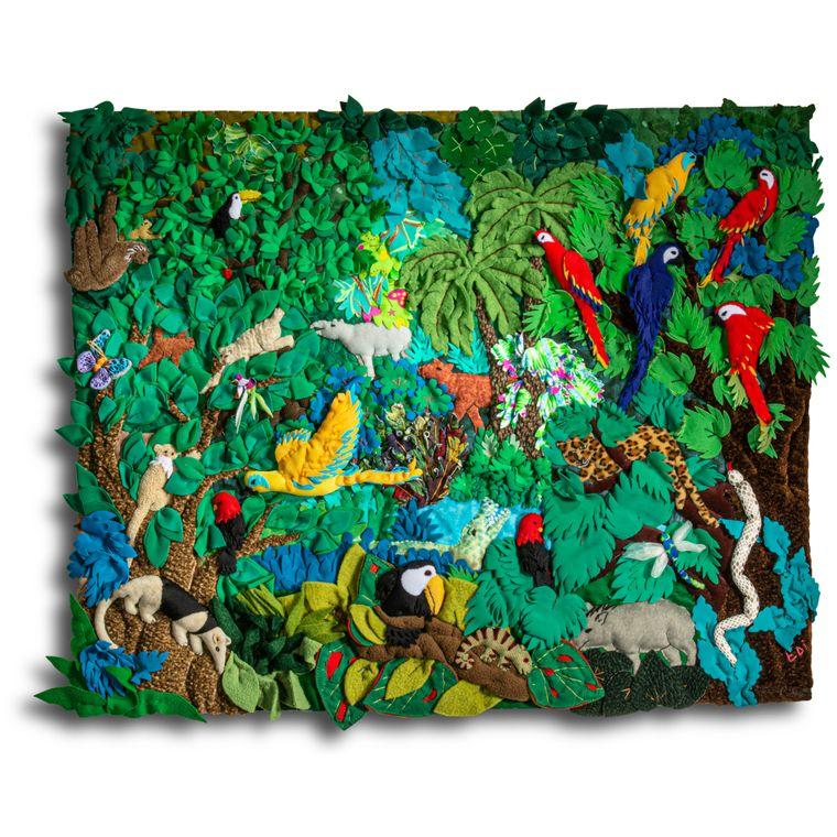 """Rainforest - Medium 3-D Arpillera Art Quilt 21"""" X 17"""""""