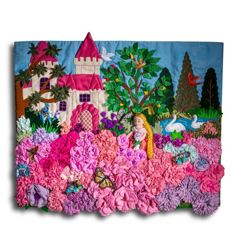"""Fairy Tale Princess - Medium 3D Arpillera Art Quilt - 21"""" X 17"""""""