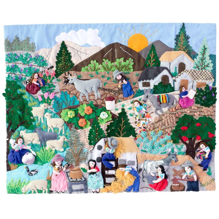 "Andean Life - Medium 3-D Arpillera Art Quilt- 21"" X 17"""