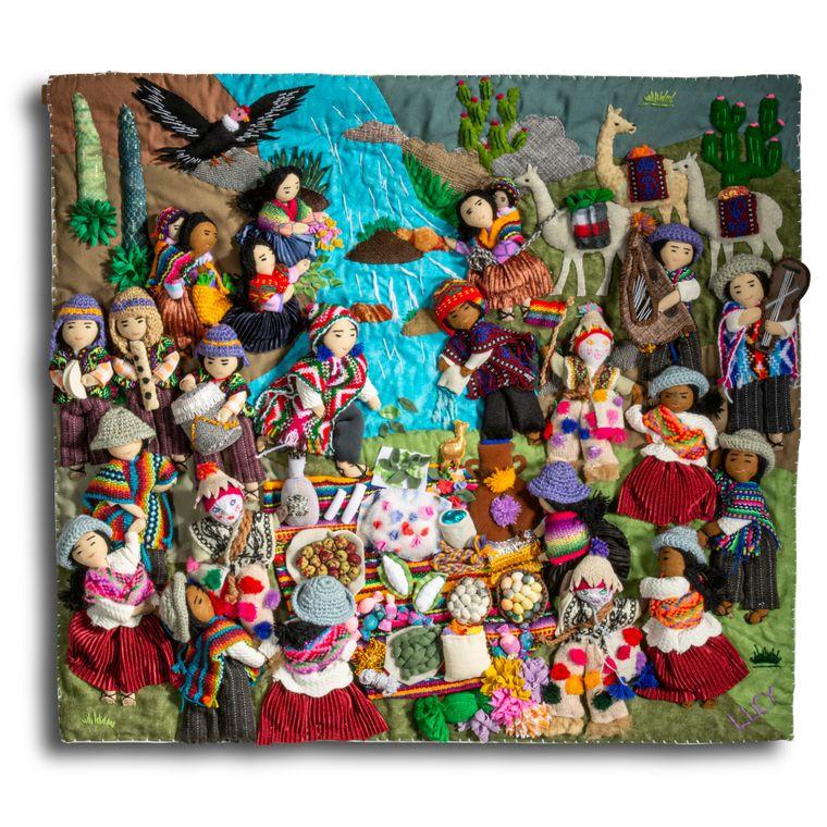 Mother Earth Celebration, the Pachamama - Medium 3-D Arpillera Art Quilt