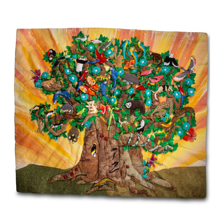 Rainforest Tree by Lucy and Alessandra - Large 3-D Arpillera Art Quilt