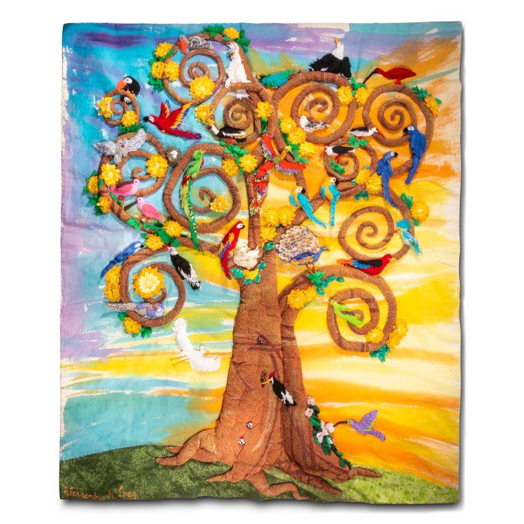 Birds of Paradise - Large 3-D Arpillera Art Quilt by Lucy
