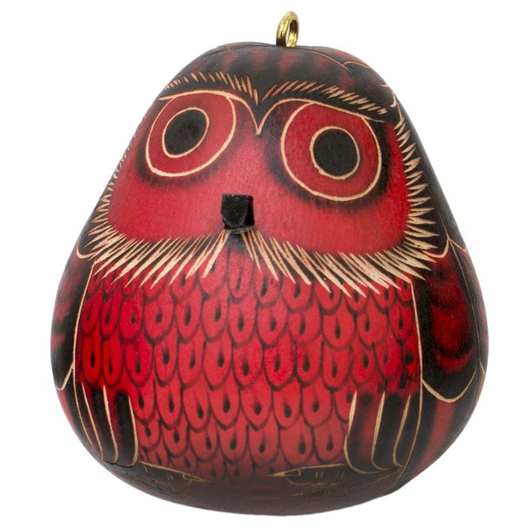 Red Owl - Gourd Ornament