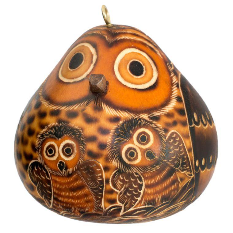 Owl Mom & Owlet - Gourd Ornament