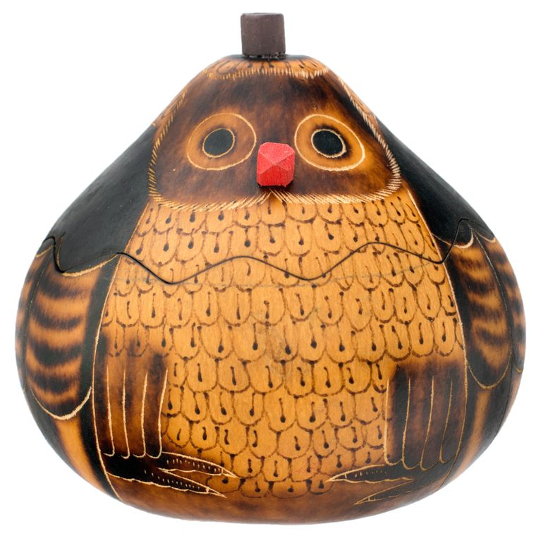 Owl - Medium Carved Gourd Box
